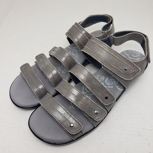 Propet Gray Open Toe Slingback Leather Sandals